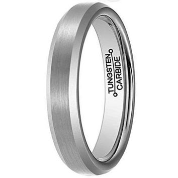 CERTIFIED 4mm Silver Tungsten Carbide Ring Simple Fashion Wedding Band  Domed