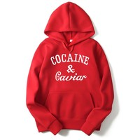 2017 New Hooded Spring Autum Winter Outerwear Cool Clothing Cocaines & Caviar Hip Hop Hoodies Sweatshirts For Men And Women