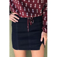 Free People Femme Fatal Skirt - Dark Blue