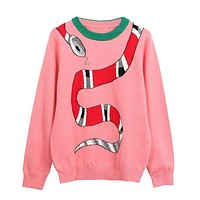 Fashionable hot sell early spring small snake jacquard long sleeve knit sweater female body of the bottom round neck pullover sweater