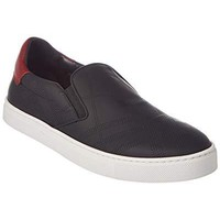 BURBERRY Copford Perforated Check Leather Slip On Trainer, 8.5 UK