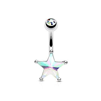 Crystal Star Set Belly Button WildKlass Navel Rings 316L Surgical Steel