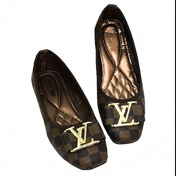 LV tide brand female classic chess board wild casual shoes Coffee