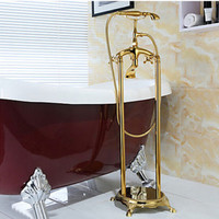 Brass Luxury Gold Plate Bathtub Faucet Floor Standing Shower Tub Faucet 2 Handle 016