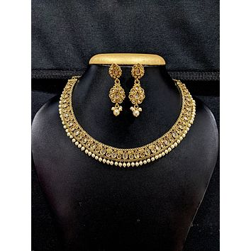 Mehandi Gold plated Polki stone Choker Necklace and Earrings set