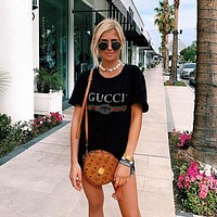 Gucci Hot letters print T-shirt top Black