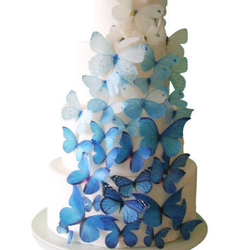 WEDDING CAKE Topper - 40 Ombre Edible Butterflies in Blue - Wedding Cakes, Cake Decorations, Butterfly Cake