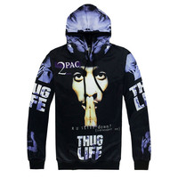 Hip Hop Hoodies Sets Men Fashion 3d Sweatshirts Print Ripper 2Pac Tupac Hooded Tracksuits Sets