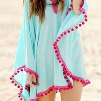 Blue Chiffon Beach Cover-Up