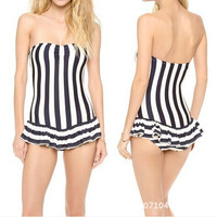 NEW Sexy Womens One Piece Swimwear Underwire Padded Striped Swimsuit SML westido biquini set bathing suit