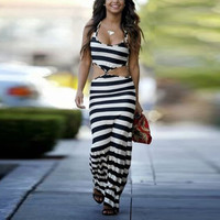 Striped Long Maxi Sleeveless Bodycon Dress