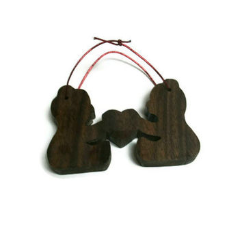 Bears Ornament In Love - Wooden Decor