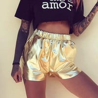 Women's Fashion Summer leather sexy gold Shorts a13852