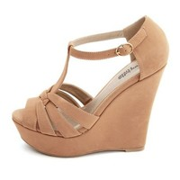 Pleather T-Strap Wedge Sandal: Charlotte Russe