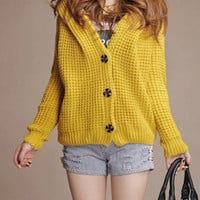 Yellow Long Sleeve Hooded Cardigan