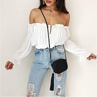 La Boheme Off Shoulder White Peasant Top