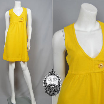 Vintage 60s Canary Yellow Dress 1960s Mod Shift Dress Scooter Dress Space Age British Boutique Scooter Dress Go Go Dress Sleeveless Mini Mod