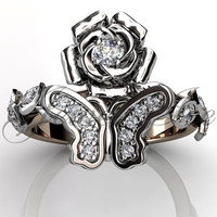 Butterfly Engagement Ring - 14k rose and white gold diamond unique butterfly engagement ring, wedding ring, anniversary ring ER-1117-6