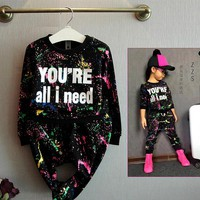 New Tops + Pants Toddler Girl Clothing Autumn Children Clothes Set Baby Boys Girls Tracksuit Kids Cloth Kids Hip Hop Clothing