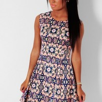 Biba Navy and Neon Pink Abstract Print Skater Dress | Pink Boutique