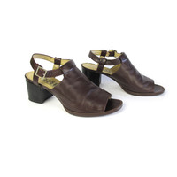 90s Cut Out Chunky Sandals Brown Leather Chunky Heels Grunge Minimal Buckle Heels Nine West Shoes Chocolate Brown Leather Sandals (Size 7.5)