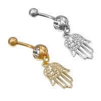 Gold silver plated Stainess Steel Hand Crystal Belly Button Ring Tassel Dangle Navel Body Jewelry Piercings