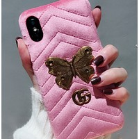 Gucci new iPhone7 / 8plus / 6s butterfly plush leather phone case
