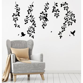 Vinyl Wall Decal Nature Tree Bird On a Branches Leaves Room Decoration Stickers (4316ig)