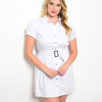 Plus Size Button up Dress With Self Belt (1XL to 3XL)