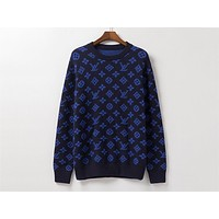 LV fshion hit with printed classic logo jacquard crew-neck sweaters Dark Blue