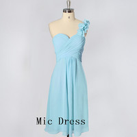 High quality one-shoulder Sleeveless sashes handmade flowers short Prom/Evening/Party/Homecoming/Bridesmaid/Cocktail/Formal Dress
