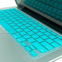 """Kuzy - TURQUOISE Hot Keyboard Cover Silicone Skin for MacBook Pro 13"""" 15"""" 17"""" (with or w/out Retina Display) iMac and MacBook Air 13"""" - Turquoise Hot"""