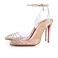Christian Louboutin Cl Spikoo Transp/light Gold Pvc/specchio Pumps 3180074h334