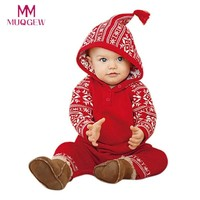 Newborn Baby Girls Boy Clothes Set Christmas Hooded Printing Romper Jumpsuit Pajamas Outfits Winter Casual Baby Girl Clothes Set