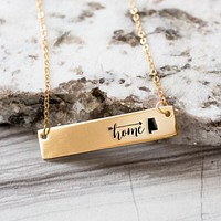 Home is Alabama Gold / Silver Bar Necklace