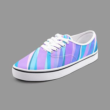 Blue Pink Abstract Eighties Unisex Canvas Shoes Fashion Low Cut Loafer Sneakers by The Photo Access