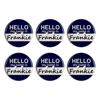 Frankie Hello My Name Is Plastic Resin Button Set of 6