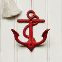 Cast Iron Anchor Double Wall Hook - Choose Your Color - Colorful Cast and Crew