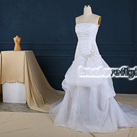 elegant white a-line strapless wedding dresses gowns slit in front,simple white beach wedding dress,simple wedding reception dress