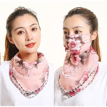 1 Fits All - Big Pink Roses - Face Mask Scarf