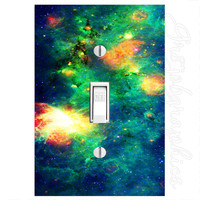 Deep Space Light Switch Cover with Decal Galaxy Stars Wall Art LS14
