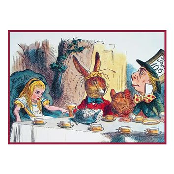 John Tenniel's The Mad Hatters Tea Party Alice in Wonderland Counted Cross Stitch Chart Pattern