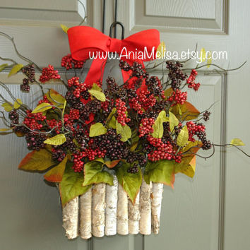 Christmas wreath for front door red berry wreaths, year round wreath, Holidays pip berry wreaths decor