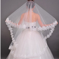 Long Floral Lace Flower Cathedral Wedding Gown Bridemaids Veil Bridal Veil White/Beige = 1704376580