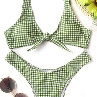 A| Chicloth Sexy Green Blue Vest Women Bikinis Set Strap Swimsuit Checkered