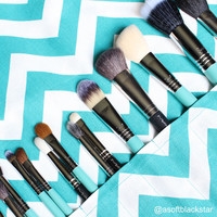 Large Makeup Brush Roll Holder Organizer, Chevron, Teal Turquoise and White