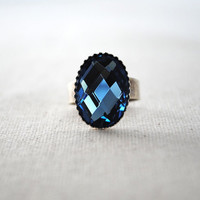 Statement Ring Blue Glass Stone on Silver Tone by ripeshop