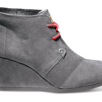 Charcoal Suede Women's Desert Wedges US