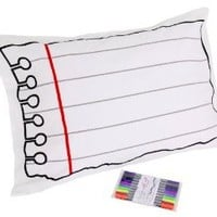 Doodle Cotton Pillowcase to Personalize and Decorate, with wash-out fabric markers included