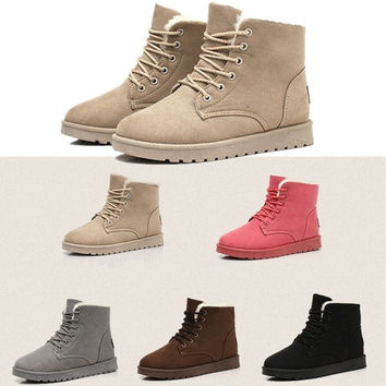 Womens Winter Warm Snow Fur Lined Lace Up Flat High Ankle Boots Round Toe Shoes [8403190151]